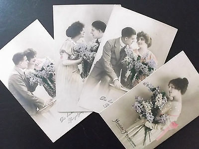 4 imperial german  ww1 postcards   couple with flowers