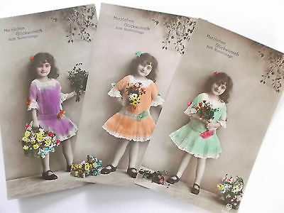 3 imperial german  ww1 postcards a young girl with flowers