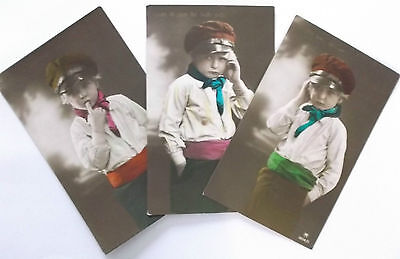 3 imperial german  ww1 postcards    a young boy wearing  cap