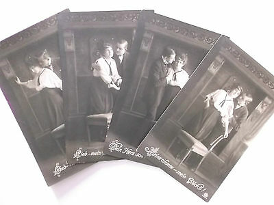 4 imperial german  ww1 postcards    couple with chair