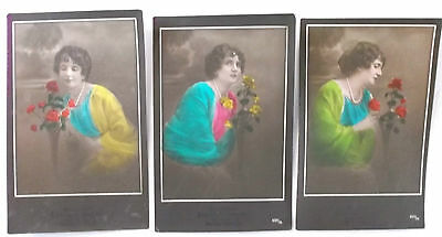 3 imperial german  ww1 hand coloured  postcards  lady with flowers