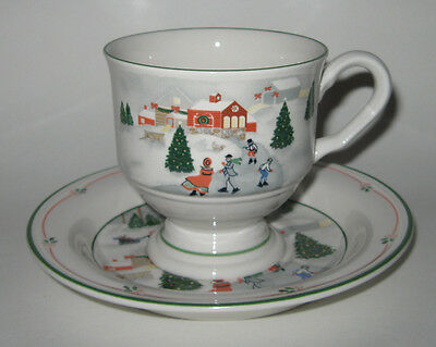Sango SILENT NIGHT Footed Cup and Saucer Set (s) Christmas Holiday