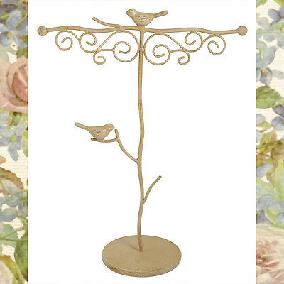Pink Iron Jewelry Display Stand Tree with Birds