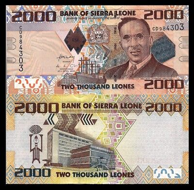 Sierra Leone P31, 2000 Leones, Wallace-Johnson, cargo ship / bank, 2010 $9 CV!