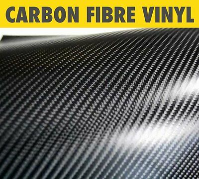 New 4D Real Look Carbon Fibre Vinyl Wrap Roll Bubble Free Black All Sizes