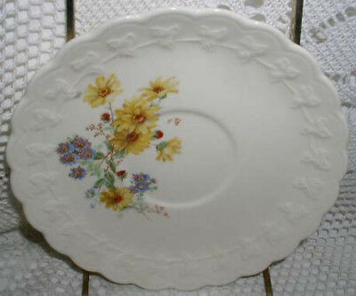 Taylor Smith & Taylor Saucer cup Plate TST Yellow Blue Flowers Floral Scallop