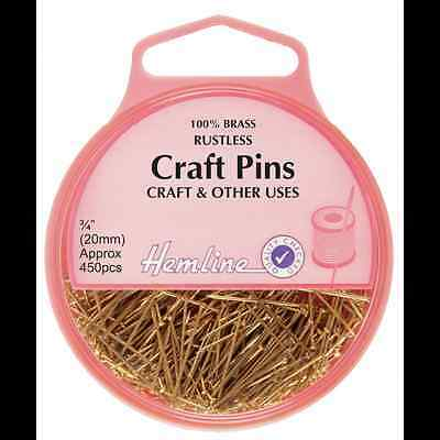 Hemline 450 x 20mm Brass Craft Pins Beading Sequin