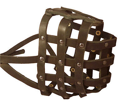 "Real Leather Basket Dog Muzzle Saint Bernard Newfoundland 18""- 4.7"" snout size"