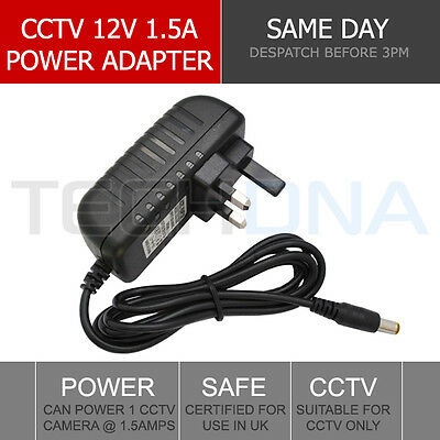 CCTV Power Supply Unit Adapter PSU 1.5 Amp 1500ma 2.1mm 12V DC 1.5A UK Plug