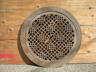 "Large Antique Round Cold Air Return Grate Grill With Surround 31"" Diam. #1908-13"