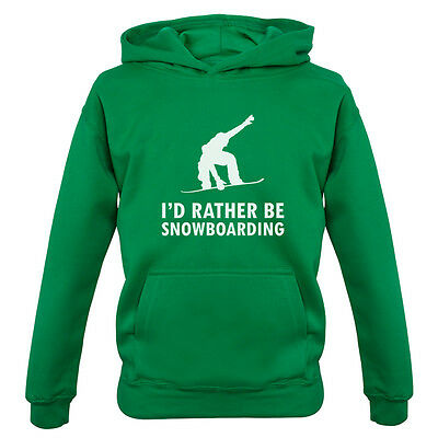 I'd Rather Be Snowboarding - Kids / Childrens Hoodie - Equipment - Snowboard
