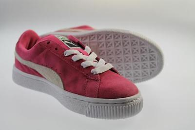 Puma Girls Hot Pink Suede Court Trainers UK Sizes 10 11.5 1 1.5 2.5  353636 04