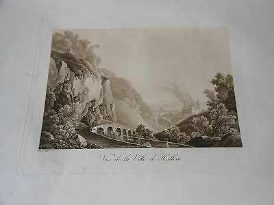 1825 Beautiful Copper Engraving Aquatint Austria City Of Hallein Salt Mines