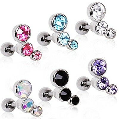 New Surgical Steel Triple Gem Tragus Helix Cartilage Bar Barbell Stud 6mm 8mm