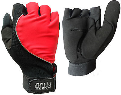 Red New Full Thumb Half Finger Gel Padded Wheelchair Specific Sport Gloves