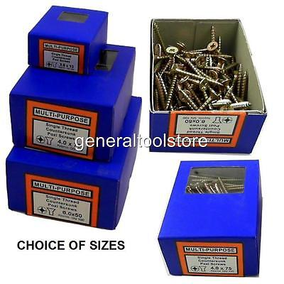 Multi Purpose Wood Pozi Boxed 200 Or 100 Screws Size 4.5 X 22Mm Upto 6.0 X 150Mm