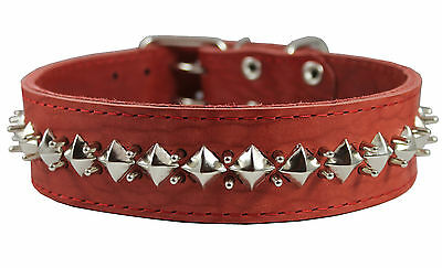 """Thick Genuine Leather Spiked Studded Dog Collar Sized Fit 18""""-22"""" Neck 2"""" wide"""