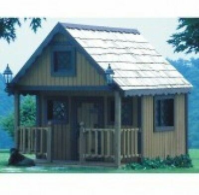 Plan (Only) To Build Wooden Playhouse  7 X 8Ft With Porch &  Loft Full Size