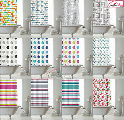 NEW Modern Bathroom Shower Curtain with Ring Hooks 180 x 180 cm Stripe Spots
