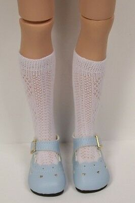 LT Light BLUE Heart Cut-Outs Doll Shoes For Hopscotch Hill Collection Debs