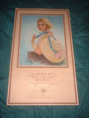 "Lovely 1941 Blonde Pin Up ""betty Lou"" Blonde J. Erbit Calendar W/ Complete Pad"