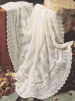 "Gorgeous Lacy Baby Shawl 3 ply~ 48"" square ~ Knitting Pattern"