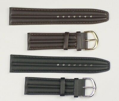 Mens watch strap padded striped dark brown black 12mm -22mm water resist band