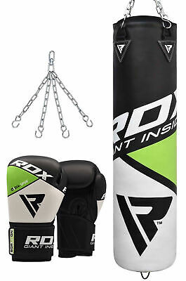 RDX 4/5ft Heavy Green Filled Punch Bag With Boxing Gloves Chain Kick Boxing