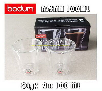 IN BOX BODUM ASSAM DOUBLE WALL CLEAR THERMO-GLASSES ESPRESSO CUPS x2 100ML