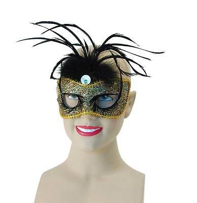 Gold Mask + Tall Feather, Fancy Dress, Masquerade Eye Mask, Halloween.