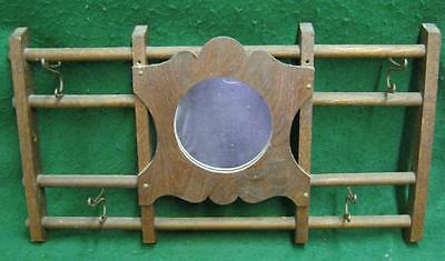 Antique Hall Mirror With Hooks #1975-13