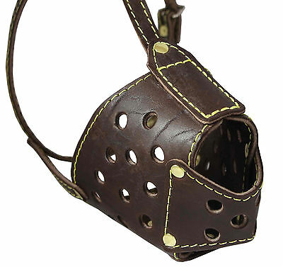 "Secure Basket Real Leather Cage Dog Muzzle 13""-3.5"" snout size PitBull"