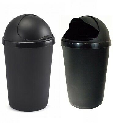 New 50 Litre Bullet Bin Rubbish Waste Litter Bins Kitchen Dustbin Flap Lid Black