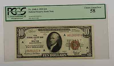 1929 $10 Ten Dollar Boston FRBN Note PCGS About New 58 Fr. 1860-A