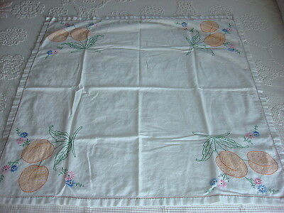 "Vintage Embroidered TABLECLOTH LUNCHEON CLOTH Fruit and Floral 34""x36"""