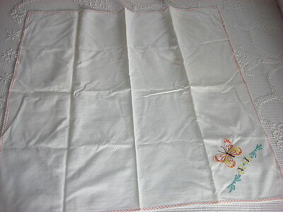 "Vintage Embroidered Cotton Tablecloth, Luncheon Cloth BUTTERFLY 31""X31"""