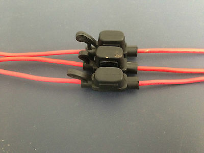 3 x Mini fuse holder with 16 gauge inline wire Weather proof design
