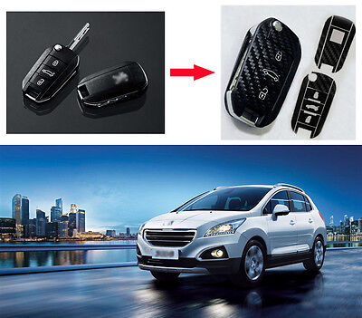 Carbon Fiber Key Chain Protective Cover Sticker for Peugeot 508 3008