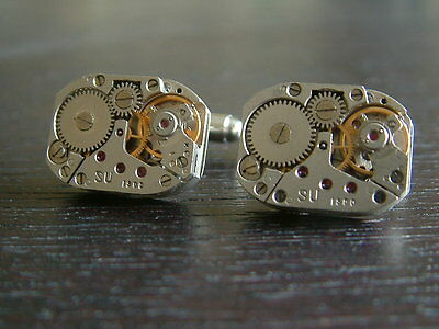 New & Boxed Vintage Retro Steampunk Watch Movement Cufflinks Mens Gift