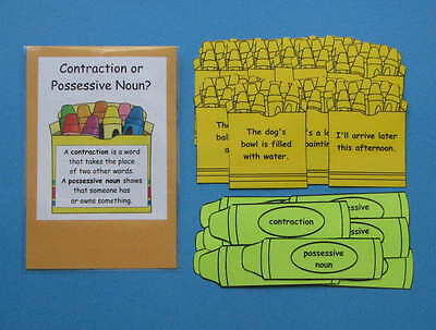 Teacher Made Literacy Center Resource Game Contraction or Possessive Noun