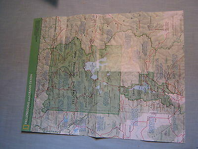 YELLOWSTONE AND GRAND TETON MAP National Geographic February 1989