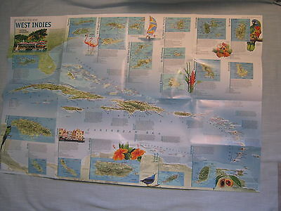 A TRAVELER'S MAP OF THE WEST INDIES National Geographic March 2003 MINT