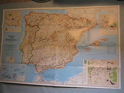 A TRAVELER'S MAP OF SPAIN AND PORTUGAL  National Geographic December 1998 MINT