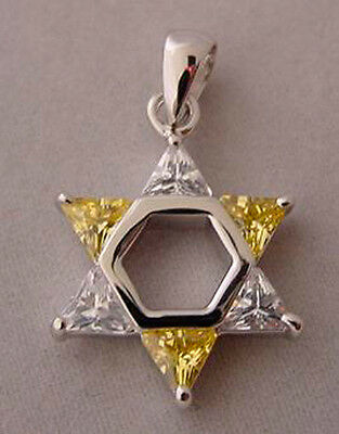 Jewish Star of David Alternating Colors -Yellow/Clear Sterling Silver