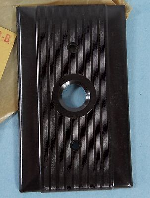 Vintage NOS Uniline Pushbutton Bakelite Brown Ribbed Single Switch Plate Arrow