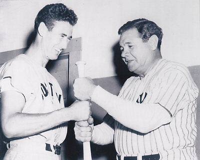 BABE RUTH / TED WILLIAMS  NEW YORK YANKEES/ BOSTON RED SOX  VINTAGE ACTION  8x10