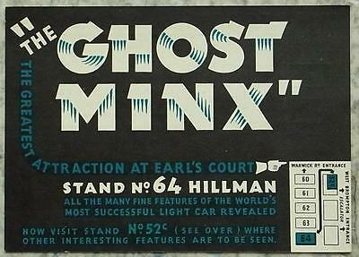 HILLMAN GHOST MINX Pass Ticket Map to Stand at EARL COURT