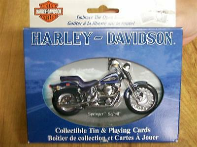 "Harley Davidson ""springer Softail"" Collectable Tin With 2 Decks Ofcards"