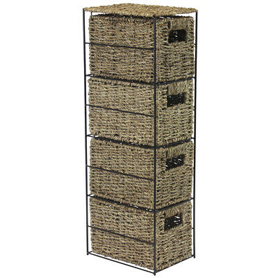 JVL Seagrass Basket 4 Drawer Tower Storage Unit with Metal Frame Home Office