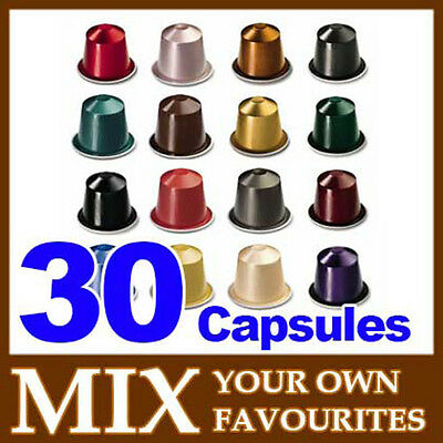 30 pcs mix your own NESPRESSO COFFEE CAPSULES (3 sleeves)